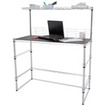 "Alera Wire Desk, 42w x 19 3/4d x 31"" to 49-1/2h"", Silver"