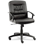 Alera York Series Mid Back Swivel/Tilt Chair, Black Leather