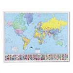 American Map Hammond Deluxe Laminated Rolled Political World Map, 50w x 38h