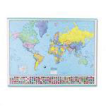 American Map Hammond Deluxe Laminated Rolled Political Reference World Map with Flags, 52wx40h