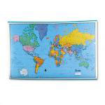 American Map Hammond Deluxe Laminated Rolled Political Reference World Map, 64wx44h