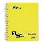 Ampad Wirebound 5 Subject Notebook, Tabbed Dividers, College Rule, 200 Sheets