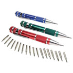 Ampro Screwdriver Set, 3 Piece, Precision Pen Style with Assorted Tips