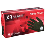 Ammex X3 Powder Free, Textured, Black Nitrile Medium