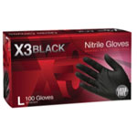 Ammex X3 Powder Free, Textured, Black Nitrile Large