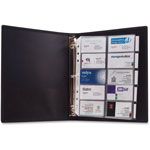"Anglers Company 3 Ring Business Card Binder, 100 Card Cap, 8 1/2""x11"", Black"