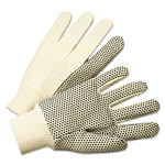 Anchor PVC-Dotted Canvas Gloves, White, One Size Fits All, 12 Pairs