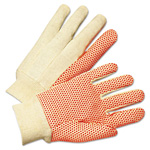 Anchor 1000 Series PVC Dotted Canvas Gloves, Orange/Black, Large, 12 Pairs