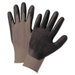 Anchor Nitrile Coated Gloves, Gray/Dark Gray, Nylon Knit, Large, 12 Pairs