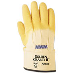 Ansell Golden Grab-It II Heavy-Duty Work Gloves, Size 10, Latex/Jersey, Yellow, 12 PR