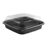"Anchor Packaging Culinary Squares 2-Piece Microwavable Container, 36oz, Clear/Black, 2.91"", 150/CT"