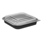 "Anchor Packaging Culinary Squares 2-Piece Microwavable Container, 36oz, Clear/Black, 2.25"", 150/CT"