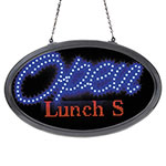 "Artistic Office Products LED Oval Open Sign with Programmable Message, 14"" x 27"", Red/Blue"