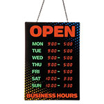 "Artistic Office Products Programmable Open Sign with Business Hours, 26"" x 18"", Red/Green"
