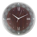 "Ampad Glass Wall Clock, 12"" Round, Woodgrain"