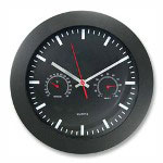 "Ampad Wall Clock, w/ Temp Humidity Gauge, 12"" Black"