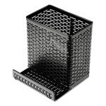Artistic Office Products Urban Collection Punched Metal Pencil Cup w/Cell Phone Stand, 3 1/2 x 3 1/2 x 4