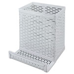 Artistic Office Products Urban Collection Punched Metal Pencil Cup/Cell Phone Stand, 3 1/2 x 3 1/2, White