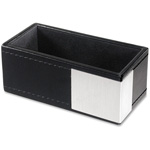 Artistic Office Products Architect Line, Bus Card Holder, Leather-Like, 50 Capacity BK/AL