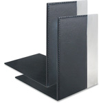 Artistic Office Products Architect Line, Bookends, Two-Tone, Leather-Like, BK/AL