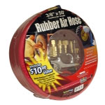 "Apache Hose and Belting 3/8"" x 50' Red Rubber Air Hose with 6 Piece Blow Gun Kit and Couplers and Plugs"