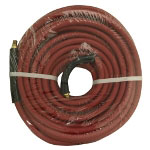 "Apache Hose and Belting 3/8"" x 50' Red Rubber Hose Coupled Brass 1/4"" Male x Male"