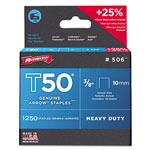 "Arrow Fastener T50 Heavy Duty Staples, 3/8"" Leg, 1250/Pack"