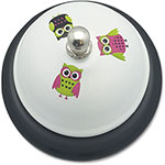 "Ashley Call Bell White Owls, 3"" Base"