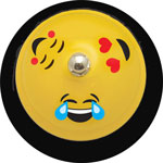 "Ashley Call Bell, Smile Face, 3""Wx3""Lx2-1/2""H, Yellow/Black"