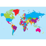 "Ashley World Map, Magnetic, Write-On/Wipe-Off, 12""Wx17""H, Assorted"