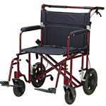 Drive Medical Bariatric Lightweight Transport Wheelchairs, Red, 22""