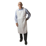 "Atlantis Plastics Disposable Medium-Weight Soft Embossed Poly Aprons, White, 28""x46"", Plastic"