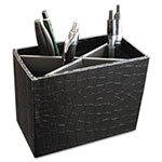 Aurora Metal/Wood PROformance Pencil Cup, 5 3/10 x 2 x 4 1/8, Black