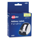 "Avery Self Stick Address Labels for Label Printers, Clear, 1 1/8""x3 1/2"", 120/Roll"