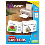 "Avery Hole Punched Printable Flash Cards, White, 4 1/4""x8 1/2"", 100 Cards"