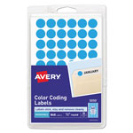 "Avery Self Adhesive Removable Labels, Round, Light Blue, 1/2"" meter, 800 per Pack"