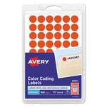 "Avery Self Adhesive Removable Labels, Round, 1/2"" meter, Red Neon 800 per Pack"