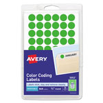 "Avery Self Adhesive Removable Labels, Round, 1/2"" meter, Green Neon, 800 per Pack"