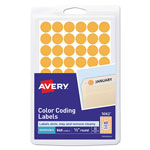 "Avery Self Adhesive Removable Labels, Round, 1/2"" meter, Orange Neon, 800 per Pack"