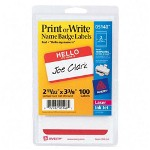 "Avery Hello Name Badge, 2 11/32""x3 3/8"", 100/Pack, Red Border"