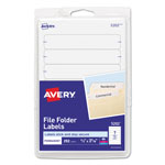 "Avery Self Adhesive File Folder Typewriter Labels, 3 7/16""x1 5/16"", White. 252 per Pack"
