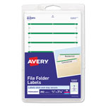 "Avery Self Adhesive File Folder Typewriter Labels, 3 7/16""x1 5/16"", Green, 252 per Pack"
