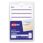 "Avery Permanent Self Adhesive File Folder Typewriter Labels, 3 7/16""x1 5/16"", Purple, 252 per Pack"