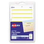 "Avery Self Adhesive File Folder Typewriter Labels, 3 7/16""x1 5/16"", Yellow, 252 per Pack"
