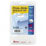 Avery Print/Write On Hanging File Tabs, 1/2 x 2 1/16, White, 2/Sheet, 24 Sheets/Pack