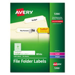Avery Permanent Printer Filing Labels, 1/3 Cut, 1500 per Pack, White