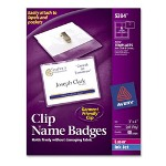 "Avery Laser/Ink Jet Name Kits with Clip, Top Load, 3""x4"", 40/Box, white"