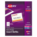 "Avery Plain Insert Badge Refill, Fits 3""x4"" Holder, 300 per Pack, White"