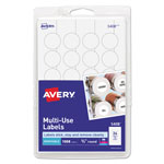 "Avery Self Adhesive White Removable Labels, Round, 3/4"" meter, 1008 per Pack"