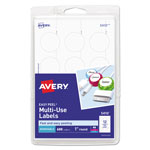 "Avery Self Adhesive White Removable Labels, Round, 1"" Dia., 600/Pack"